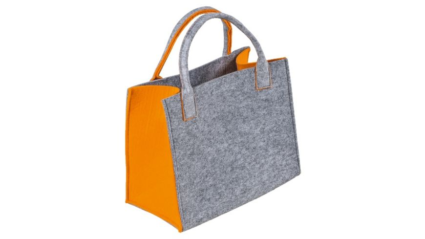 Filztasche hellgrau orange