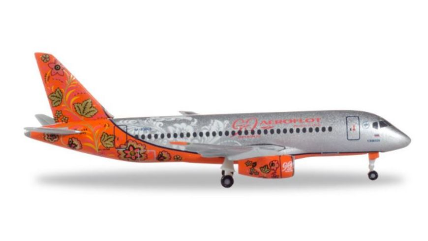 Herpa 531160 Aeroflot Sukhoi Superjet SSJ 100 90th Anniversary RA 89009