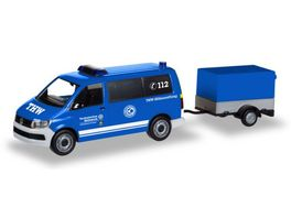 Herpa 093668 VW T6 Bus mit Pritschenanhaenger THW Korbach Hoehenrettung