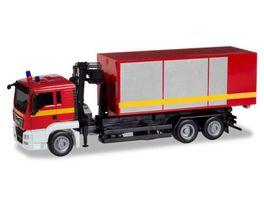 Herpa 093705 MAN TGS L Wechsellader LKW mit Kran Feuerwehr