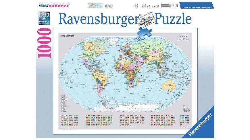 Ravensburger Puzzle - Politische Weltkarte, 1000 Teile