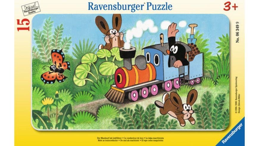 Ravensburger Puzzle Rahmenpuzzle Der Maulwurf als Lokfuehrer 15 Teile