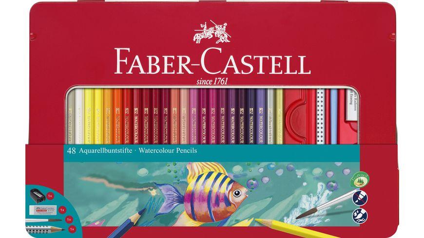 FABER CASTELL 48 Aquarellbuntstifte im Metalletui