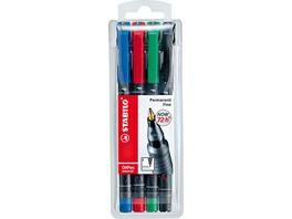 STABILO Folienstift STABILO OHPen universal permanent fein 4er Pack gruen rot blau schwarz
