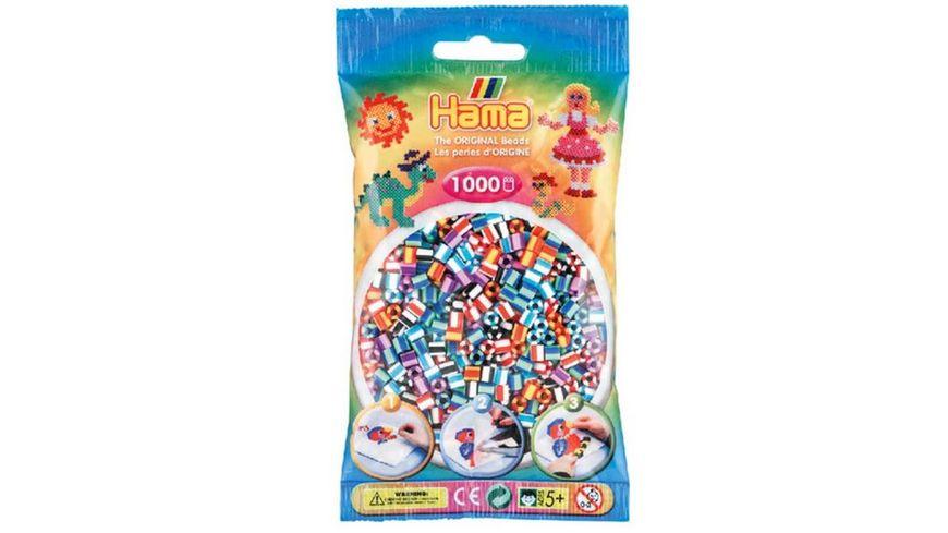Hama Buegelperlen im Beutel ca 1000 Stueck Streifenmix