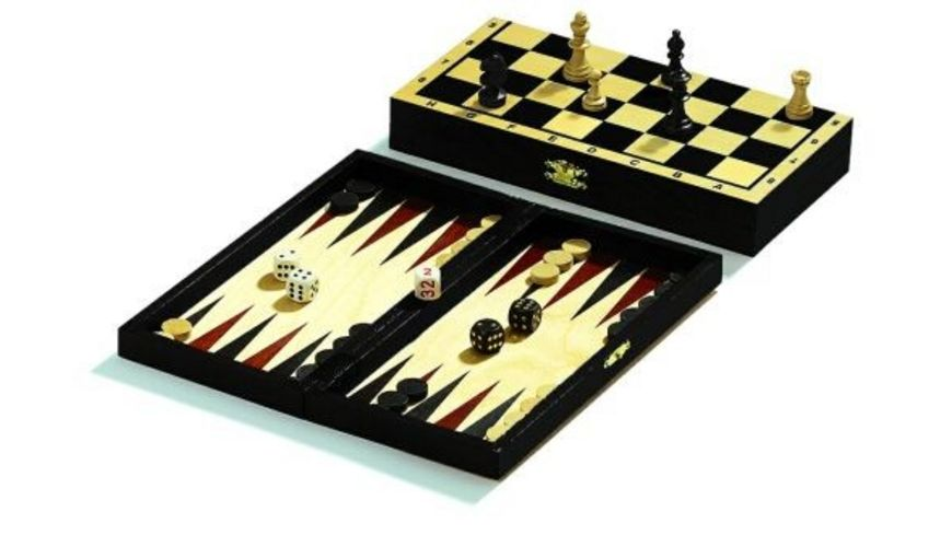 Philos Reise Schach Backgammon Dame Set