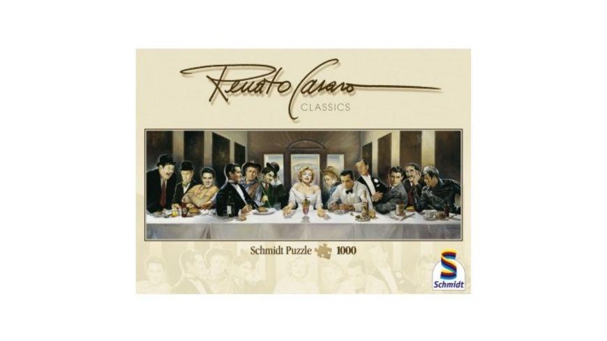 Schmidt Spiele Erwachsenenpuzzle Panorama Renato Casaro Dinner der Beruehmten 1000 Teile
