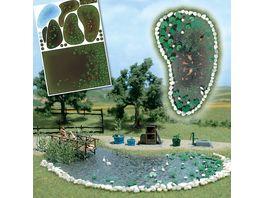Busch Modellbahnzubehoer Gartenteich Set