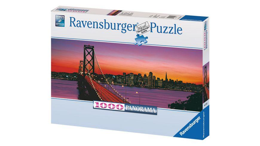 Ravensburger Puzzle - Panorama - San Francisco, Oakland Bay Bridge bei Nacht, 1000 Teile