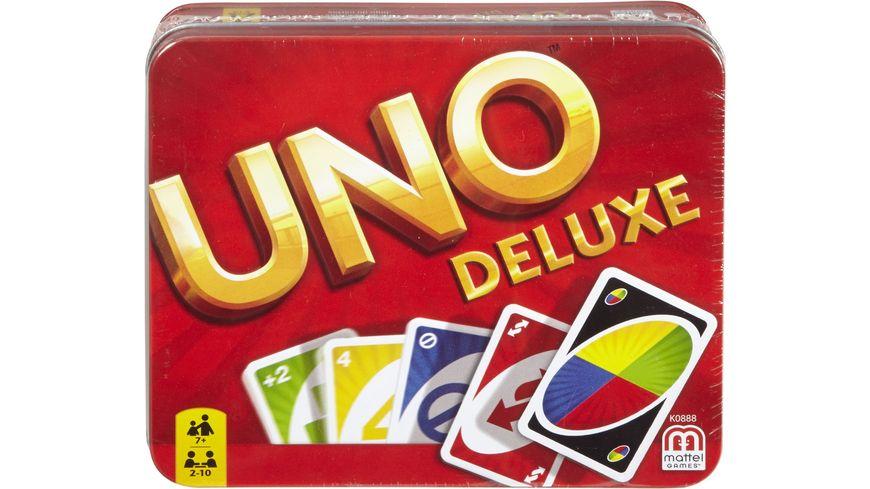 Mattel Games UNO Deluxe Metallbox, Kartenspiel, Gesellschaftsspiel, Kinderspiel
