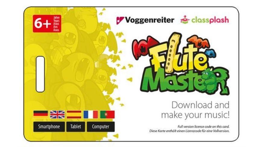 Voggenreiter Flute Master App mit Blockfloete aus Kunststoff bar Griffweise