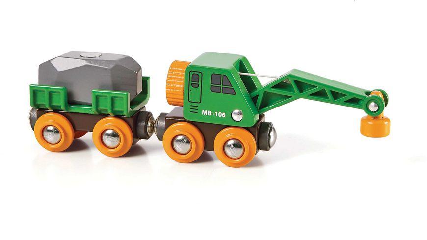 BRIO Bahn Gruener Kranwagen mit Anhaenger und Fracht