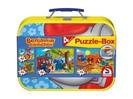 Schmidt Spiele Kinderpuzzle Puzzle Box im Metallkoffer Benjamin Bluemchen 2x26 2x48 Teile