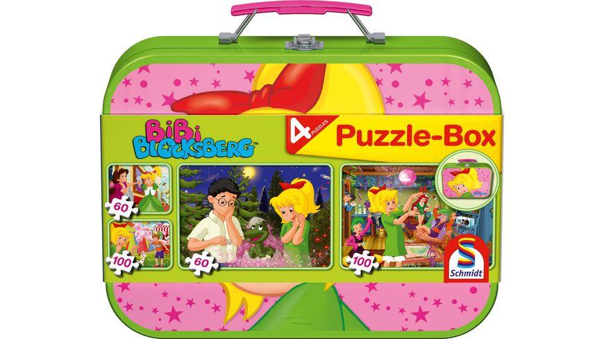 Schmidt Spiele Puzzle Puzzle Box im Metallkoffer Bibi Blocksberg 2x60 2x100 Teile