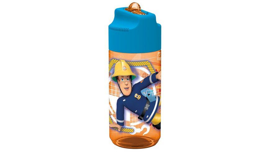 p os Trinkflasche Feuerwehrmann Sam mit Strohhalm