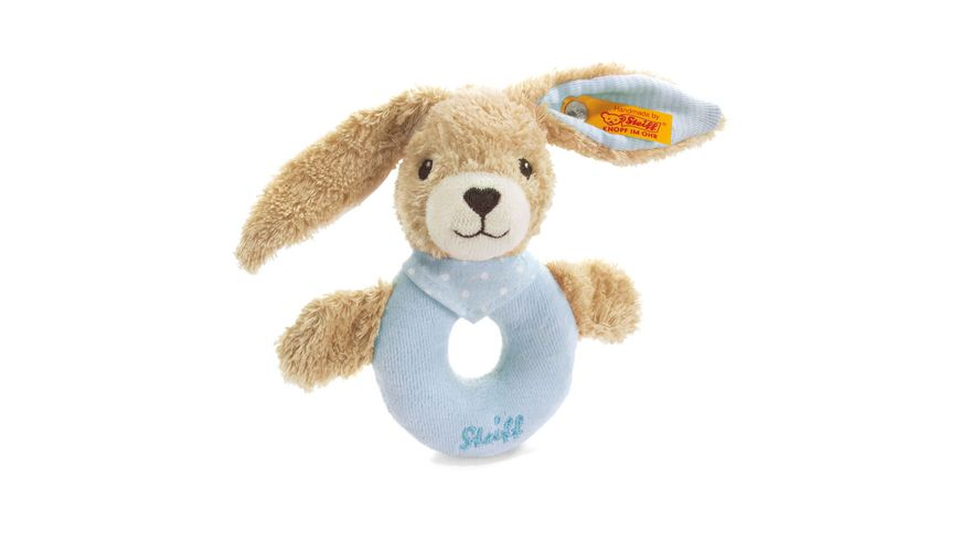 Steiff Babywelt Spielzeug Greifringe Rasseln Hoppel Hase Greifring mit Rassel blau 12cm