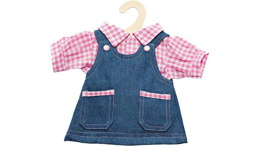 Heless Jeanstraegerkleid mit Bluse Gr 35 45cm