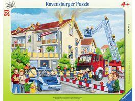 Ravensburger Puzzle Rahmenpuzzle Die Feuerwehr rueckt aus 39 Teile