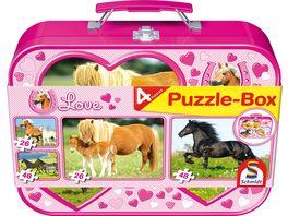 Schmidt Spiele Puzzle Puzzle Box im Metallkoffer Pferde 2x26 2x48 Teile