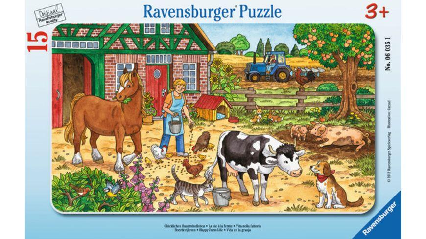 Ravensburger Rahmenpuzzle Glueckliches Bauernhofleben 15 Teile