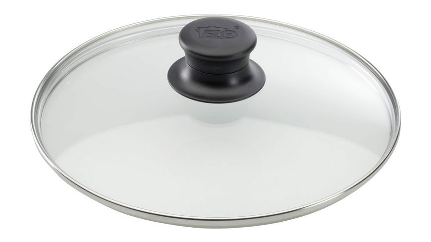 ELO Glasdeckel mit Edelstahlrand und Kunststoffknopf 28cm