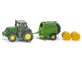 SIKU 1665 Super John Deere Traktor mit Ballenpresse