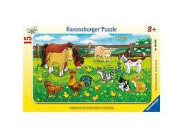 Ravensburger Rahmenpuzzle Bauernhoftiere auf der Wiese 15 Teile