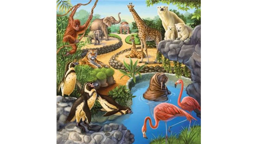 Ravensburger Puzzle Wald Zoo Haustiere 3 x 49 Teile