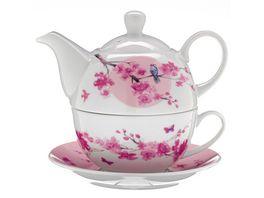 TRENDSHOP Tee Set Tea for One 4 teilig Kirschbluete
