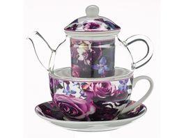 TRENDSHOP Tee Set Tea for One 4 teilig Rosenbluete