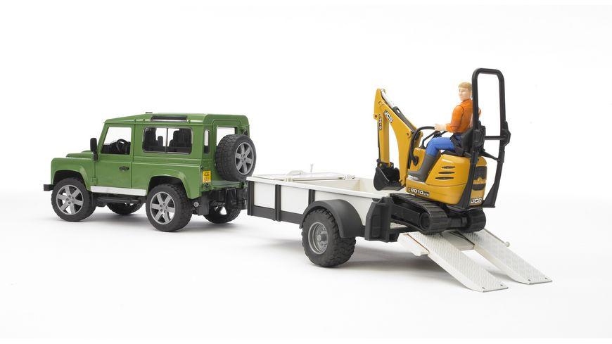 BRUDER Land Rover Defender Einachsanhaenger JCB Mikrobagger und Bauarbeiter