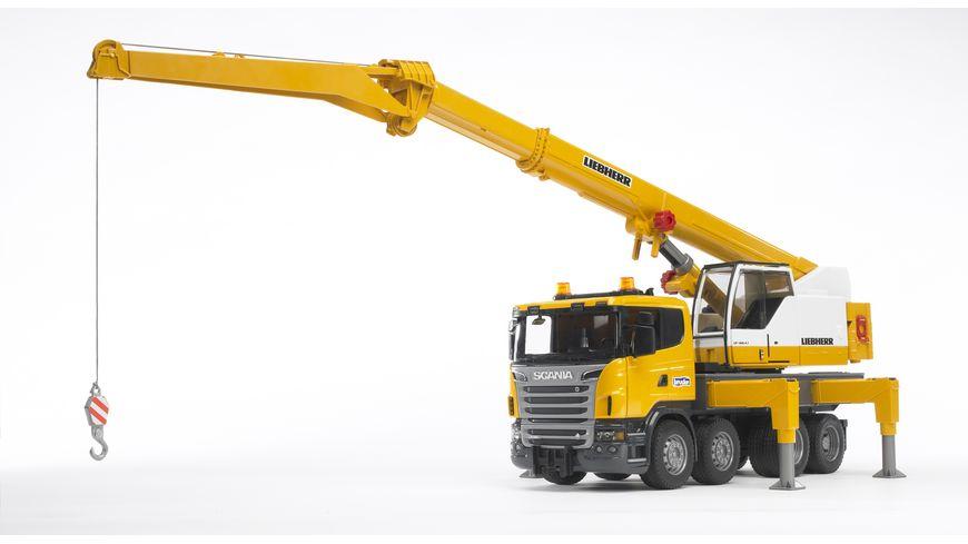 BRUDER - Scania R-Serie Liebherr Kran-LKW mit Light & Sound Modul 03570