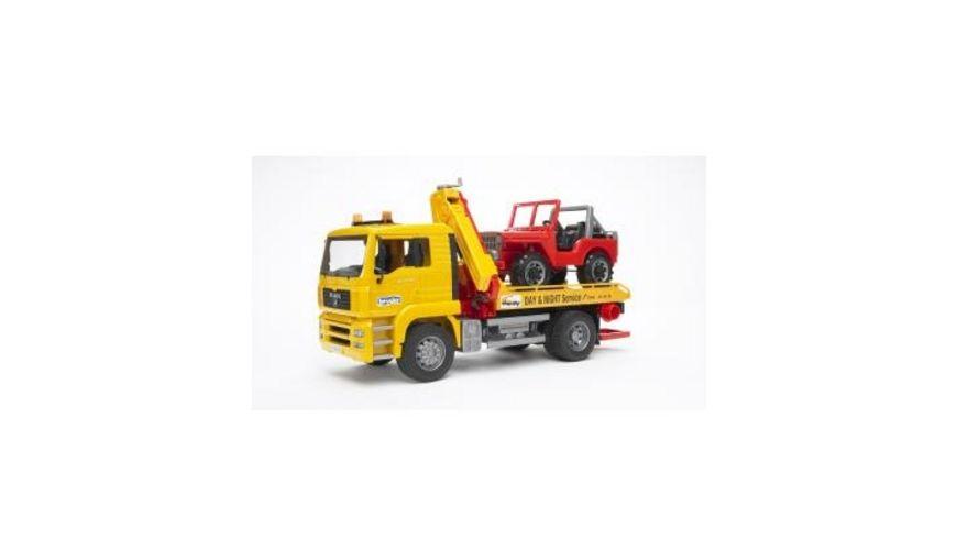 BRUDER MAN TGA Abschlepp LKW mit Gelaendewagen 02750