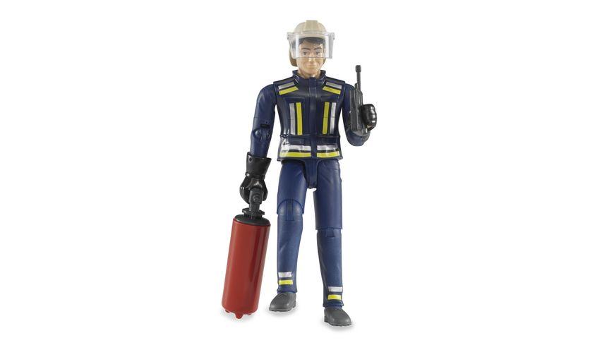 BRUDER Feuerwehrmann mit Helm Handschuhen und Zubehoer 60100