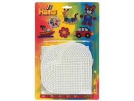 Hama Blister mit 4 Stiftplatten grosses Quadrat grosser Kreis grosses Sechseck grosses Herz