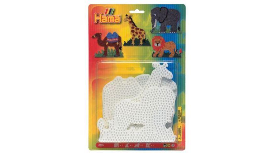 Hama Blister mit 4 Stiftplatten Elefant Giraffe Loewe Kamel