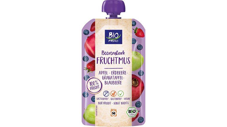 BIO PRIMO Fruchtmus Beerenstark Apfel Erdbeere Granatapfel Blaubeere