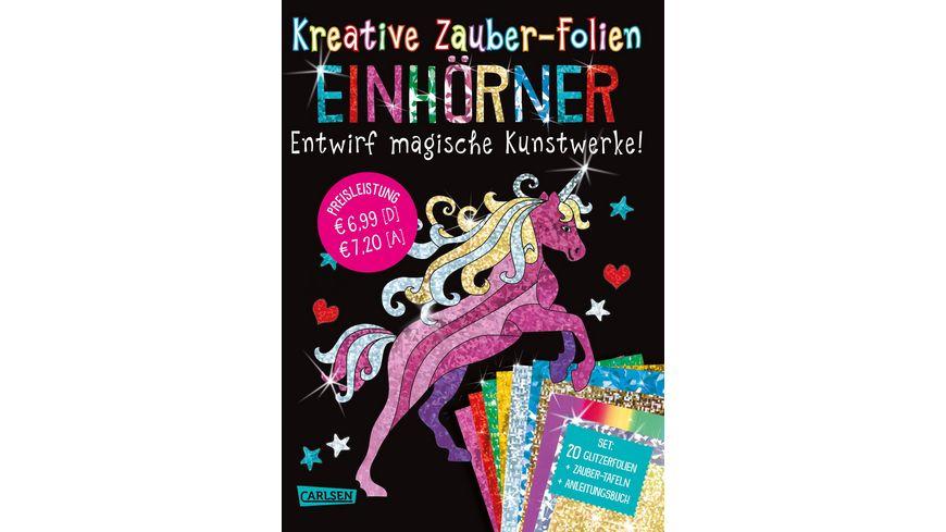 Kreative Zauber Folien Einhoerner Set mit 10 Zaubertafeln 20 Folien und Anleitungsbuch