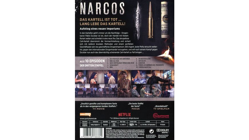 Narcos Staffel 3 4 DVDs