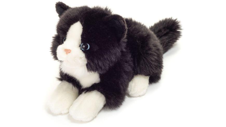 Teddy Hermann Katze liegend schwarz weiss 20 cm