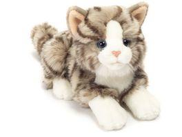 Teddy Hermann Katze liegend grau 20 cm