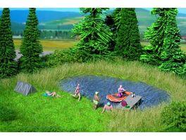 NOCH H0 07442 Natur Badesee 22 x 20 cm mit 10 Grasbuescheln