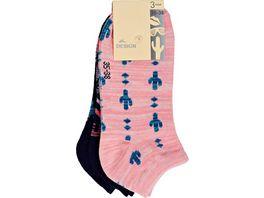 Damen Design Funny Sneaker Kaktus 3er Pack