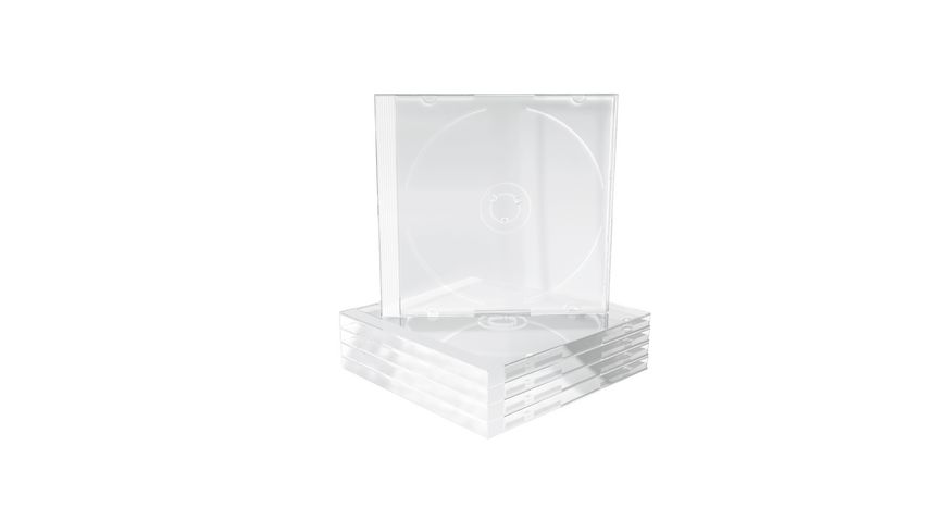MediaRange CD Leerhuelle fuer 1 Disc 10 4mm transparentes Tray 5er Pack