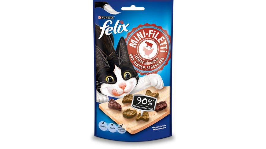 felix Katzensnack Mini Filetti Leckere Huehnchen Rinder Stueckchen