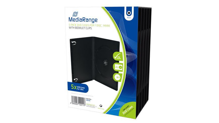 MediaRange DVD Leerhuelle fuer 1 Disc 14mm schwarz 5er Pack