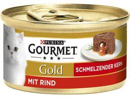Purina GOURMET Katzennassfutter Gold Schmelzender Kern mit Rind 85g
