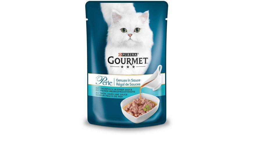 Purina GOURMET Perle Genuss Katzennassfutter in Sauce mit Thunfisch mit feiner Meeresfruechtenote