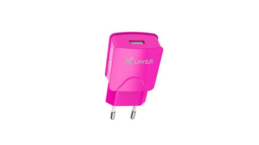 Xlayer Ladegeraet Colour Line USB Netzteil 2 1A Pink