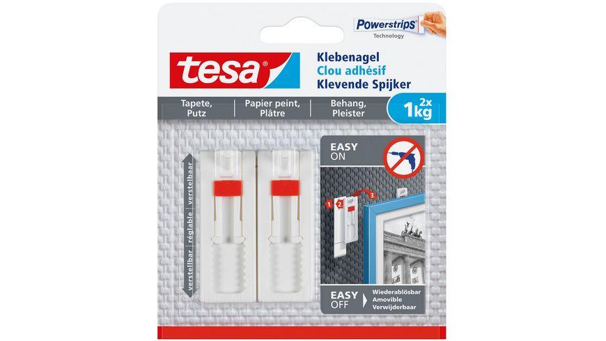 tesa Powerstrips Verstellbarer Klebenagel fuer Tapeten und Putz 1kg